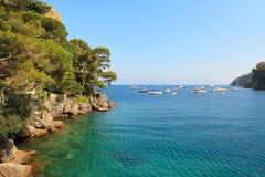 Baía pequena entre os penhascos cobertos com as árvores em Portofino, Itália. foto de stock