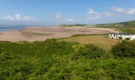 Baía que de Broughton o Gales do Sul da península de Gower BRITÂNICO perto de Rhossili encalha Imagens de Stock Royalty Free