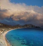 Baía quieta, o fim da estação Baía quieta, costa do Mar Negro, Crimeia Foto de Stock