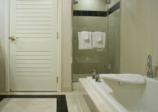 Bañera blanca con los golpecitos del acerocromo Fotos de archivo libres de regalías