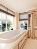 Bañera clásica por la ventana grande con las persianas romanas en el bathroo Imagenes de archivo