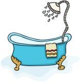 Bañera con la ducha stock de ilustración