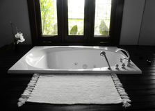 Bañera del cuarto de baño, interior lujoso Foto de archivo libre de regalías