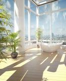 Bañera moderna contra ventanas grandes libre illustration