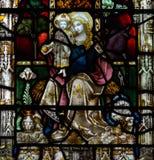 Baño Abbey Perpendicular Gothic Window Close encima del vitral de F Imágenes de archivo libres de regalías
