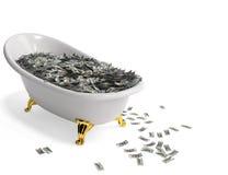 Baño con el dinero Foto de archivo