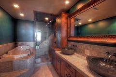 Baño con la tina y la ducha fotos de archivo libres de regalías