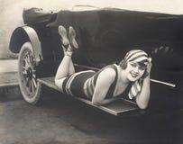 Baño de la belleza que presenta en el tablero corriente de convertible Imagenes de archivo