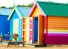 Baño de las cajas en Brighton Beach, Australia Imagen de archivo