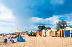 Baño de las cajas en Brighton Beach, Australia Imágenes de archivo libres de regalías
