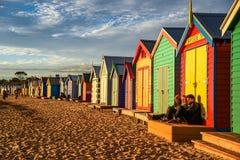 Baño de las cajas en Brighton Beach, Melbourne Foto de archivo libre de regalías