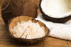 Baño de los Cocos. coco con la sal imágenes de archivo libres de regalías