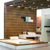 Baño de madera Fotografía de archivo
