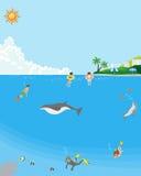 Baño de mar del verano - bajo la superficie del mar libre illustration