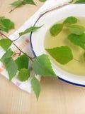 Baño de té con las hojas del abedul Fotos de archivo