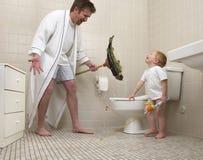 Baño del muchacho Fotografía de archivo
