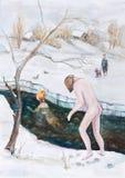 Baño en un hielo-agujero Imagen de archivo libre de regalías