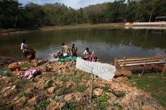 Baño en un lago Imagen de archivo libre de regalías