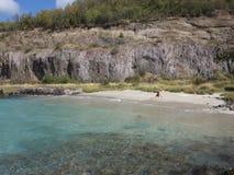 Baño en una playa remota en el Caribe metrajes