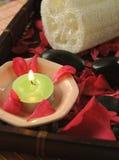 Baño floral con peta color de rosa del rojo Foto de archivo libre de regalías