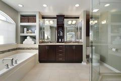 Baño principal con cabinetry de madera oscuro Imagenes de archivo