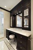 Baño principal con cabinetry negro Imágenes de archivo libres de regalías
