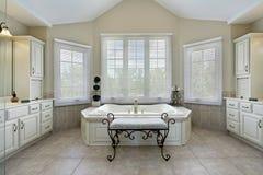 Baño principal con la bañera grande Foto de archivo