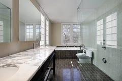Baño principal con la ducha de cristal Imagen de archivo