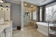 Baño principal con la ducha de cristal Fotos de archivo
