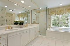 Baño principal con la ducha de cristal Fotografía de archivo