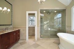 Baño principal con la tina libre Foto de archivo