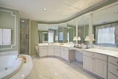Baño principal con las paredes verdes Fotografía de archivo libre de regalías