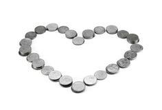 Baño tailandés de la moneda en forma del corazón Fotos de archivo libres de regalías