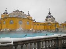 Baño termal de Szechenyi en Budapest Foto de archivo libre de regalías