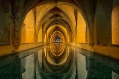 Baños de María de Padilla, Sevilla, España. View of the beautiful pool with reflection royalty free stock photos