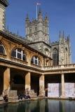 Baños y abadía romanos del baño - Inglaterra Foto de archivo