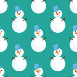 Bałwanów bożych narodzeń sezonu zimnej zimy bezszwowy deseniowy mężczyzna w kapeluszowym charakteru xmas tła wakacje karty wektor ilustracja wektor