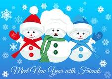 Bałwanów przyjaciele witają nowego roku Obrazy Royalty Free