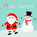 Bałwan Święty Mikołaj jest ubranym czerwonego kapelusz, kostium, duża broda, pasowa klamra wesołych Świąt Cukierek trzcina Śliczn ilustracja wektor
