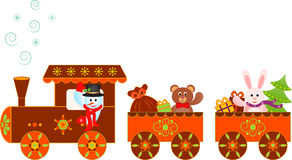 Bałwan Bożenarodzeniowych teraźniejszość pociągu ekspresowego Biegunowa ilustracja Zdjęcia Stock