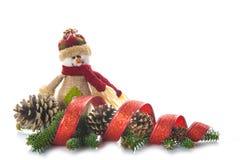 Bałwan burlap i boże narodzenie ornamenty Zdjęcie Stock