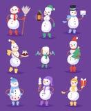 Bałwan kreskówki zimy bożych narodzeń ślicznego charakteru xmas dziewczyn i chłopiec wektoru wakacyjna wesoło śnieżna ilustracja ilustracji