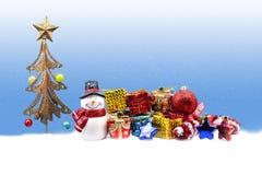 Bałwan lala i boże narodzenie dekoracje Fotografia Stock