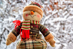 Bałwan na śniegu Obraz Royalty Free