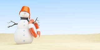 Bałwan na plaży, 3d ilustracje ilustracja wektor