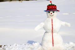 Bałwan w kapeluszu czerwonych stojakach na śnieżystej łące w zimie, wakacjach, nowego roku i bożych narodzeń, rozrywka fotografia stock