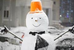 Bałwan w opadzie śniegu Zdjęcia Stock