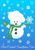 Bałwan z srebnym tacy mienia płatkiem śniegu Zdjęcia Stock
