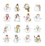 Bałwanu doodle kolekcja również zwrócić corel ilustracji wektora Zdjęcie Royalty Free