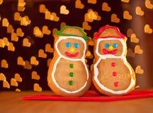 Bałwanu dwa ciastka kształtnego Bożenarodzeniowego obrazy royalty free